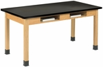 Science Lab Wooden Table with 1'' Thick Black Phenolic Resin Top and 2 Book Compartments - 48''W x 24''D x 30''H [C7104K30N-DW]