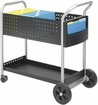 Scoot™ 22.5'' W x 39.5'' D x 40.75'' H Steel Mail Cart with Bottom Shelf - Black [5239BL-FS-SAF]