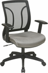 Work Smart Screen Back and Mesh Seat Chair with Adjustable Arms - Grey [EM50727-2-FS-OS]
