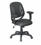 Work Smart Screen Back Mesh Seat Managers Chair with Urethane and Mesh Seat - Black [EM20522-3U-FS-OS]