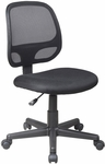 Work Smart Screen Back Armless Task Chair with Seat Height Adjustment and Casters - Black [EM20200-3-FS-OS]