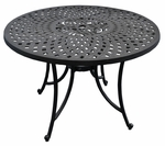 Sedona 42'' Cast Aluminum Dining Table in Charcoal Black Finish [CO600142-BK-FS-CRO]