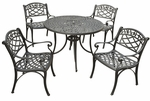 Sedona 42'' Five Piece Cast Aluminum Outdoor Dining Set with Arm Chairs in Black Finish [KOD6003BK-FS-CRO]