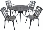 Sedona 42'' Five Piece Cast Aluminum Outdoor Dining Set with High Back Arm Chairs in Black Finish [KOD6004BK-FS-CRO]