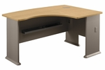 Series A 60'' W x 44'' D L-Bow Desk - Light Oak and Sage [WC64322-FS-BBF]