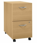 Series C Two Drawer Mobile Pedestal File - Light Oak [WC60352-FS-BBF]