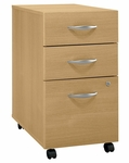 Series C Three Drawer Mobile Pedestal File - Light Oak [WC60353-FS-BBF]