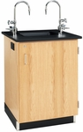 Wooden Service Island with 1'' Thick Black Epoxy Resin Top and Sink - 26''W x 24''D x 36''H [3116K-DW]
