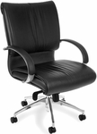 Sharp Leather Executive Mid-Back Chair - Black [511-L-FS-MFO]