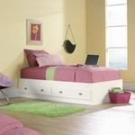 Shoal Creek 40''W x 15''H Wooden Bed with 2 Under-Bed Drawers - Twin - White [411222-FS-SRTA]