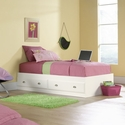 Shoal Creek 40''W x 15''H Wooden Bed with 2 Under-Bed Drawers - Twin - White