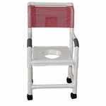 Shower Chair with Full Support Snap-On Seat and Casters - 22''W X 18''D X 40''H [118-3TW-VS-MJM]