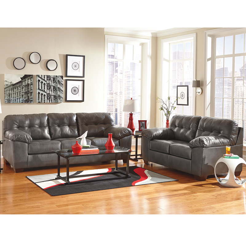 Signature Design By Ashley Alliston Living Room Set In Gray Durablend Fsd 2399set Gry Gg By