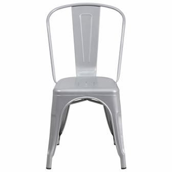 Silver Metal IndoorOutdoor Stackable Chair CH31230SILGG by