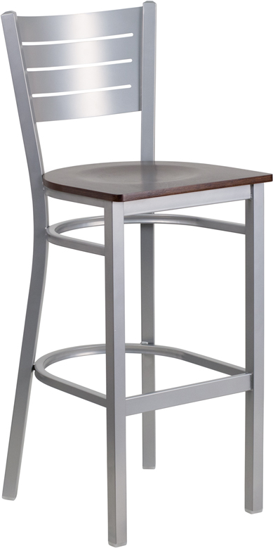 Silver Slat Back Metal Restaurant Barstool with Walnut Wood Seat BFDH SLV BAR WAL by T D Restaurant Equipment