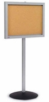 Single Pedestal Single-Sided Aluminum Frame and Acrylic Enclosed Bulletin Board [BS-148-MSH]