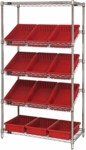 Stationary Slanted Wire Shelving with 3.5''H Dividable Grid Containers - Red [WRS-5-92035-RD-QSS]