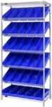Stationary Slanted Wire Shelving with 30 Economy Shelf Bins - Blue [WRS-7-104-BL-QSS]