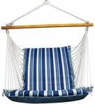 Soft Comfort Cushion Soft Polyester Hanging Hammock Rope Chair - Tropical Palm Stripe Blue [1500135142-FS-ALG]
