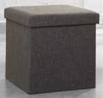 Harvey Park 15''H Upholstered Storage Ottoman - Dark Gray Linen [415584-FS-SRTA]