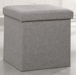 Harvey Park 15''H Upholstered Storage Ottoman - Light Gray Linen [415583-FS-SRTA]