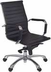 Solace Height Adjustable Swivel Chair with Casters - Black Leather [1015BK-FS-REG]