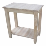 Solano Solid Parawood 24''W X 25''H Accent Table with Display Storage Shelf - Unfinished [OT-6A-FS-WHT]