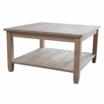 Solano Solid Parawood 32''W X 18''H Square Coffee Table with Display Storage Shelf - Unfinished [OT-6SC-FS-WHT]