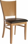 Solid Back Side Chair in Natural Wood Finish [HTG-001-192-NAT-HC]