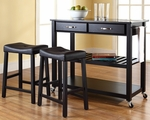 Solid Black Granite Top Kitchen Cart/Island in Black Finish With 24'' Black Upholstered Saddle Stools [KF300544BK-FS-CRO]