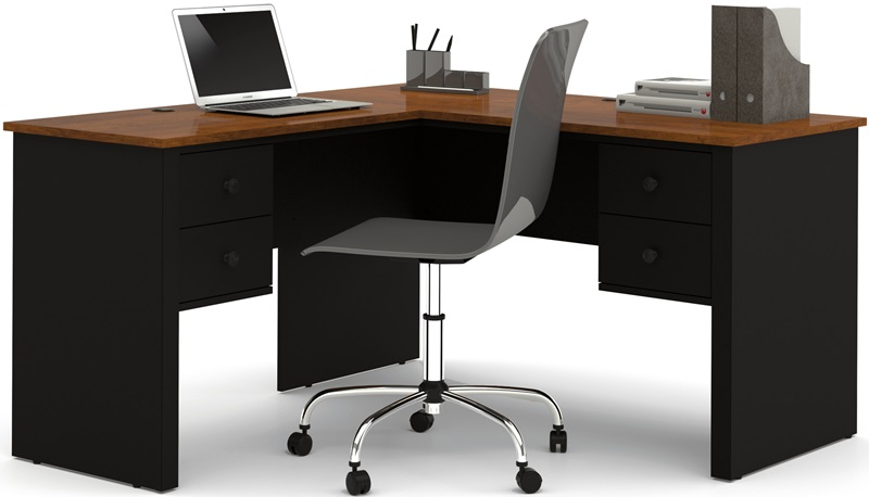 somerville lshaped desk with file drawer and wire management black and tuscany brown by bestar bizchaircom - Lshaped Desk