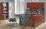 OSP Furniture Sonoma Wood U-Shaped Desk with Bullet Return and Bookcase - Cherry [SONTYP16-FS-OS]