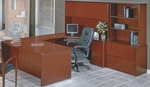 OSP Furniture Sonoma Collection U-Shaped Desk with Hutch and Storage Unit - Cherry [SUITE2-FS-OS]