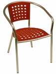 South Beach Hand Polished Tubular Aluminum Stackable Club Chair - Red [E06D-RED-ATC]