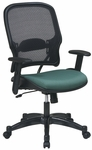 Space 1587C Professional Air Grid Back Managers Chair with Fabric Seat and Adjustable Arms [1587C-FS-OS]