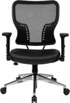 Space Air Grid Back and Padded Bonded Leather Seat Task Chair with 4-Way Adjustable Padded Flip Arms - Black [213-E37P91F3-FS-OS]