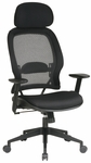 Space Air Grid Back Deluxe Task Chair with Mesh Seat and Adjustable Headrest - Black [55403-FS-OS]