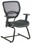 Space Air Grid Back and Seat Visitors Chair with Adjustable Arms and Sled Base - Black [5565-FS-OS]