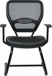 Space Professional Air Grid Back Visitors Chair with Bonded Leather Seat - Black [5705E-FS-OS]