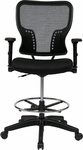 Space Deluxe Air Grid Back and Padded Mesh Seat Drafting Chair with 4-Way Adjustable Flip Arms and Adjustable Footring [213-37N2F3D-FS-OS]