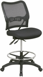 Space Deluxe Ergonomic Air Grid Back Armless Drafting Chair with Adjustable Chrome Footring - Black [13-37N30D-FS-OS]