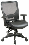 Space Professional Breathable Mesh Back and Layered Leather Seat Ergonomic Office Chair - Black [68-50764-FS-OS]