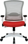 Space Pulsar Managers Office Chair with Mesh Padded Seat - Red with White Frame [317W-W1C1F2W-9-FS-OS]