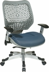 Space REVV Self Adjusting SpaceFlex Back and Mesh Seat Managers Chair with Adjustable Arms -Fog Back and Blue Mist Seat [86-M74C625R-FS-OS]