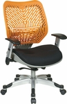 Space REVV Self Adjusting SpaceFlex Back and Mesh Seat Managers Chair with Adjustable Arms - Tang [86-M35C625R-FS-OS]
