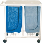 Space Saving Double Hamper with Mesh Bag and Casters- 18.5''W X 37''D X 37.5''H [213-D-MJM]