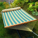 Reversible Quilted Polyester Fabric 13' Hammock with Matching Pillow - Forest Stripe and Sand Solid [2892DP-FS-ALG]