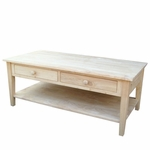 Spencer Solid Parawood 48''W X 19''H Coffee Table with 2 Drawers and Storage Shelf - Unfinished [OT-8C-FS-WHT]