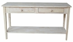 Spencer Solid Parawood 60''W X 30''H Extended Length Console Server Table with 2 Drawers - Unfinished [OT-696796-FS-WHT]