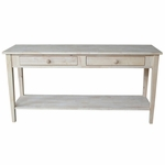 Spencer Solid Parawood 48''W X 30''H Sofa Server Table with 2 Drawers and Storage Shelf - Unfinished [OT-8S-FS-WHT]